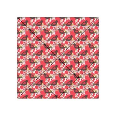 Birds Seamless Cute Birds Pattern Cute Red Acrylic Tangram Puzzle (4  x 4 )