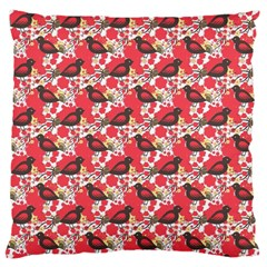 Birds Seamless Cute Birds Pattern Cute Red Large Cushion Case (Two Sides)