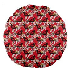 Birds Seamless Cute Birds Pattern Cute Red Large 18  Premium Round Cushions