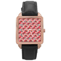 Birds Seamless Cute Birds Pattern Cute Red Rose Gold Leather Watch