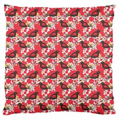 Birds Seamless Cute Birds Pattern Cute Red Large Flano Cushion Case (Two Sides)
