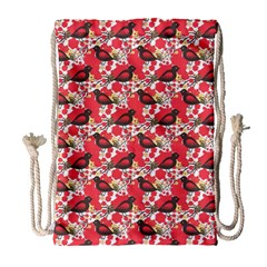 Birds Seamless Cute Birds Pattern Cute Red Drawstring Bag (Large)