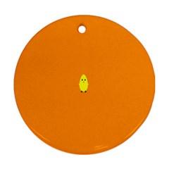 Chicks Orange Animals Round Ornament (Two Sides)