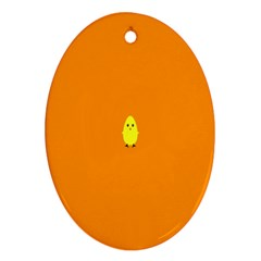 Chicks Orange Animals Oval Ornament (Two Sides)