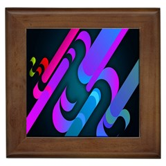 Chevron Wave Rainbow Purple Blue Pink Framed Tiles