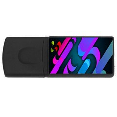 Chevron Wave Rainbow Purple Blue Pink USB Flash Drive Rectangular (1 GB)
