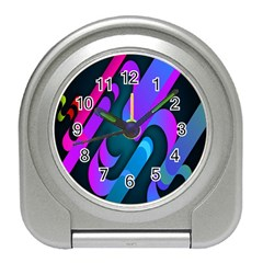 Chevron Wave Rainbow Purple Blue Pink Travel Alarm Clocks