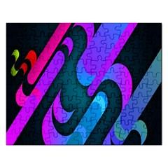 Chevron Wave Rainbow Purple Blue Pink Rectangular Jigsaw Puzzl