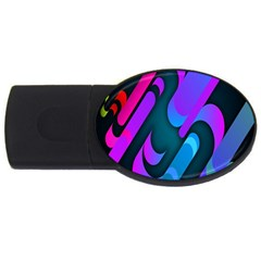 Chevron Wave Rainbow Purple Blue Pink USB Flash Drive Oval (4 GB)