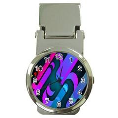 Chevron Wave Rainbow Purple Blue Pink Money Clip Watches