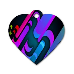 Chevron Wave Rainbow Purple Blue Pink Dog Tag Heart (Two Sides)