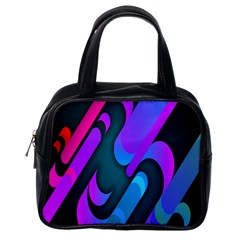 Chevron Wave Rainbow Purple Blue Pink Classic Handbags (One Side)