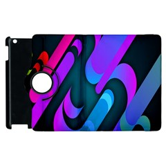 Chevron Wave Rainbow Purple Blue Pink Apple iPad 2 Flip 360 Case