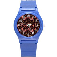 Bread Chocolate Candy Round Plastic Sport Watch (S)