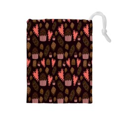 Bread Chocolate Candy Drawstring Pouches (Large)
