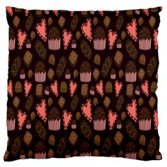 Bread Chocolate Candy Large Flano Cushion Case (Two Sides)
