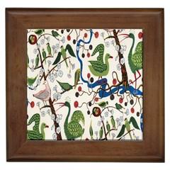 Bird Green Swan Framed Tiles