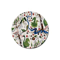 Bird Green Swan Rubber Round Coaster (4 pack)