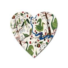 Bird Green Swan Heart Magnet