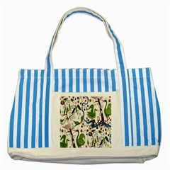 Bird Green Swan Striped Blue Tote Bag