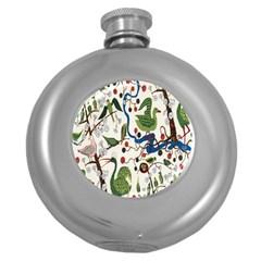 Bird Green Swan Round Hip Flask (5 oz)