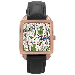 Bird Green Swan Rose Gold Leather Watch