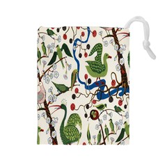 Bird Green Swan Drawstring Pouches (Large)