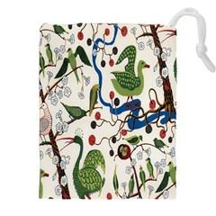 Bird Green Swan Drawstring Pouches (XXL)