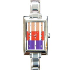 Compound Grid Flag Purple Red Brown Rectangle Italian Charm Watch