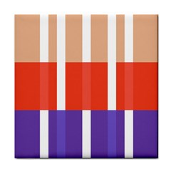 Compound Grid Flag Purple Red Brown Tile Coasters