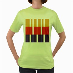 Compound Grid Flag Purple Red Brown Women s Green T Shirt