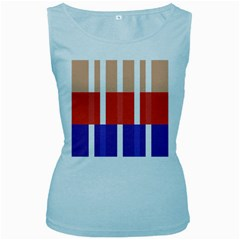 Compound Grid Flag Purple Red Brown Women s Baby Blue Tank Top