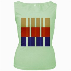Compound Grid Flag Purple Red Brown Women s Green Tank Top