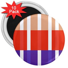 Compound Grid Flag Purple Red Brown 3  Magnets (10 pack)