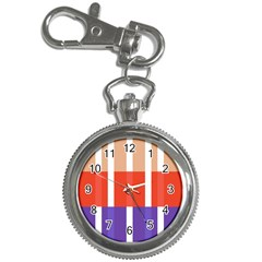 Compound Grid Flag Purple Red Brown Key Chain Watches