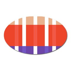 Compound Grid Flag Purple Red Brown Oval Magnet