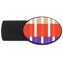 Compound Grid Flag Purple Red Brown USB Flash Drive Oval (1 GB)
