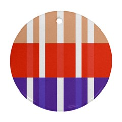Compound Grid Flag Purple Red Brown Round Ornament (Two Sides)