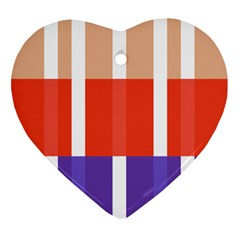 Compound Grid Flag Purple Red Brown Heart Ornament (Two Sides)