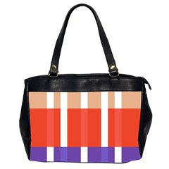 Compound Grid Flag Purple Red Brown Office Handbags (2 Sides)