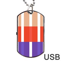 Compound Grid Flag Purple Red Brown Dog Tag USB Flash (One Side)