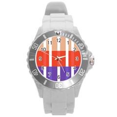 Compound Grid Flag Purple Red Brown Round Plastic Sport Watch (L)