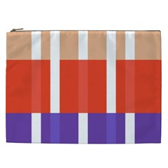 Compound Grid Flag Purple Red Brown Cosmetic Bag (xxl)