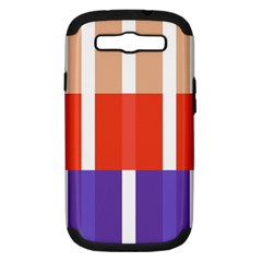 Compound Grid Flag Purple Red Brown Samsung Galaxy S III Hardshell Case (PC+Silicone)