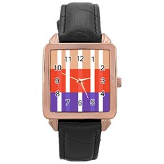 Compound Grid Flag Purple Red Brown Rose Gold Leather Watch