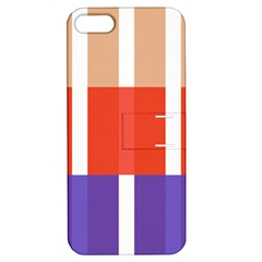 Compound Grid Flag Purple Red Brown Apple iPhone 5 Hardshell Case with Stand