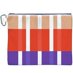 Compound Grid Flag Purple Red Brown Canvas Cosmetic Bag (XXXL)