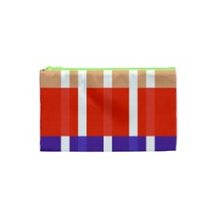 Compound Grid Flag Purple Red Brown Cosmetic Bag (XS)