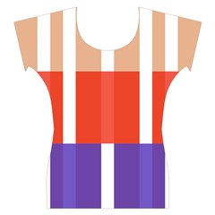 Compound Grid Flag Purple Red Brown Women s Cap Sleeve Top