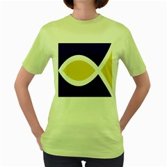 Flag Blue Yellow White Women s Green T Shirt